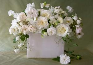 Roses & Sweet Peas in White