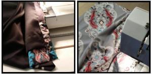 A E Design Sewing my custom fabric into drapes