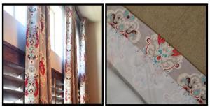 Azure Elizabeth Design Vintage Bird Fabric in Red & Gray A E Design
