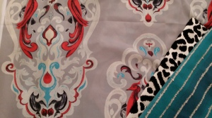 Azure Elizabeth Design Vintage Bird Fabric in Redl & Gray