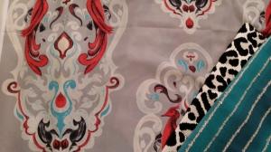 Azure Elizabeth Design Vintage Bird Fabric in Redl & Gray