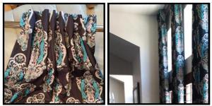 Azure Elizabeth Design Vintage Bird Fabric in Teal & Black A E Design
